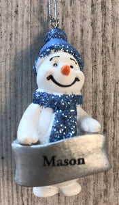 Cute Personalised Snowman Christmas Tree Decoration - Mason