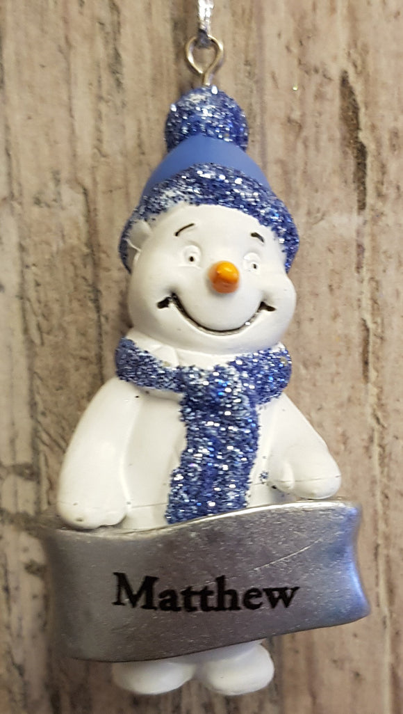 Cute Personalised Snowman Christmas Tree Decoration - Matthew