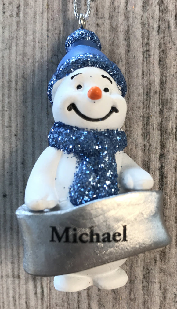 Cute Personalised Snowman Christmas Tree Decoration - Michael