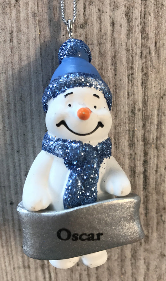 Cute Personalised Snowman Christmas Tree Decoration - Oscar