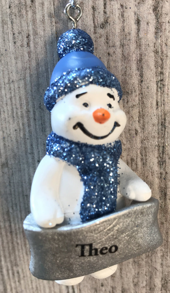 Cute Personalised Snowman Christmas Tree Decoration - Theo