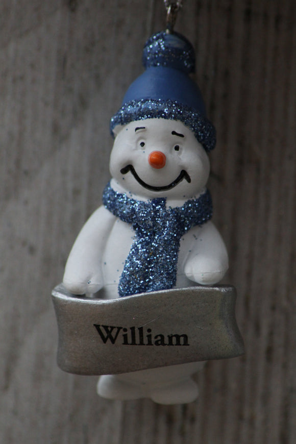 Cute Personalised Snowman Christmas Tree Decoration - William
