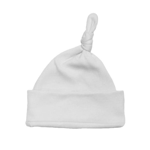 Personalised White 100% Organic Cotton Knotted Hat 0-3M