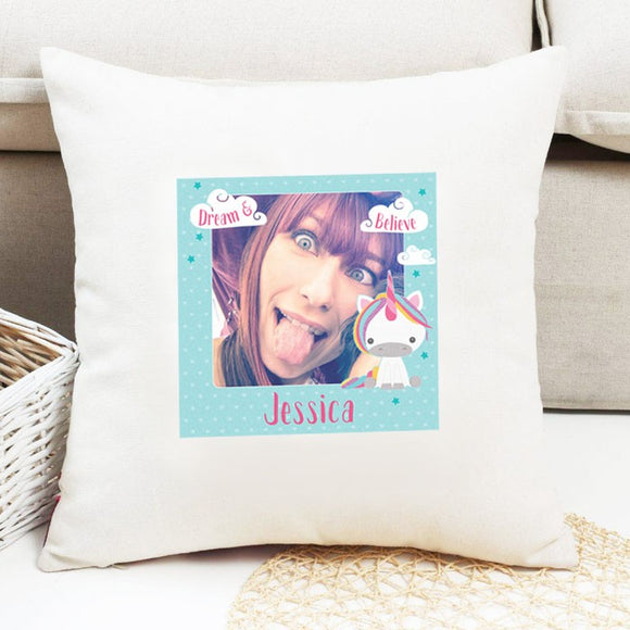 Dream Believe Unicorn - Cushion with Photo