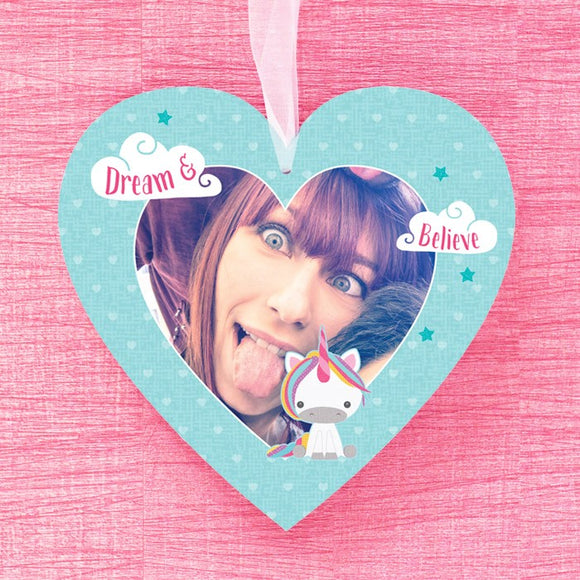 Dream Believe Unicorn - Hanging Heart with Photo