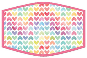 """rainbow hearts face protector"""