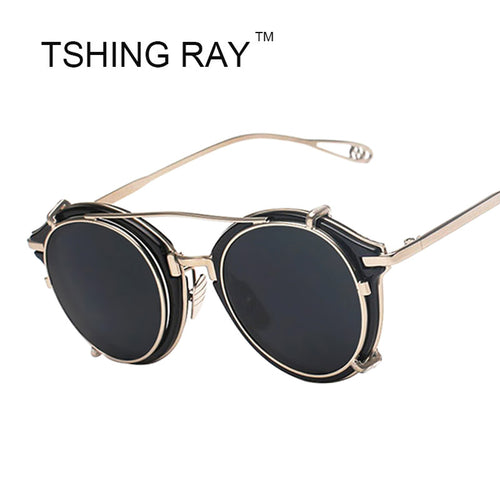 New Vintage Steampunk Clip on Sunglasses Men Women Hip Hop Round Sun Glasses Retro Steam Punk UV400 Male Shades Oculos de sol