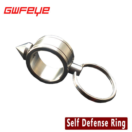 EDC Stainless Steel Self Defense Supplies Self-Defense Shocker Weapons Ring Women Safety Survival Finger Ring With key Ring