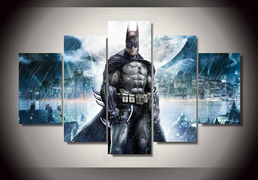5 Pieces/set Batman Movie Poster Printed Canvas Painting Children'S Room Decor Wall Pictures Artworks  Frameless