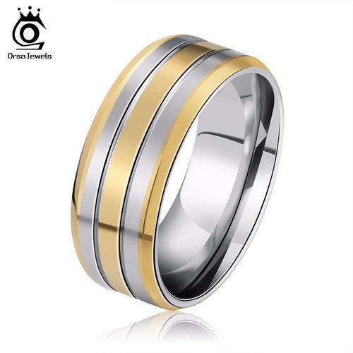ORSA JEWELS New Fashion Brand 316 Stainless Steel Rings Gold Plated Luxury Men's Party Jewelry GTR01