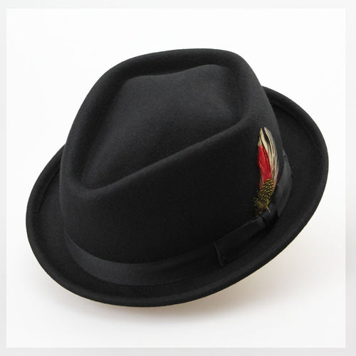 Vintage Australian Wool Felt Jazz Men Winter Hat 60CM Floppy Feather Fedora Bow Hat Fashion Flat S M Large Size Woolen Male Hat