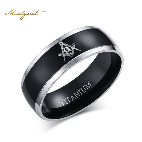 Meaeguet Black Cool Masonic Rings For Men Titanium Ring For Male Jewelry Vintage Charms Freemasonry Jewelry
