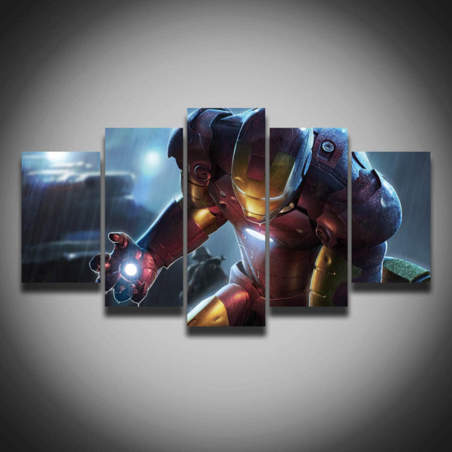 Printed cool movie posters Marvel Iron Man picture painting on canvas 5 panels wall decor for children baby room home Canvas art
