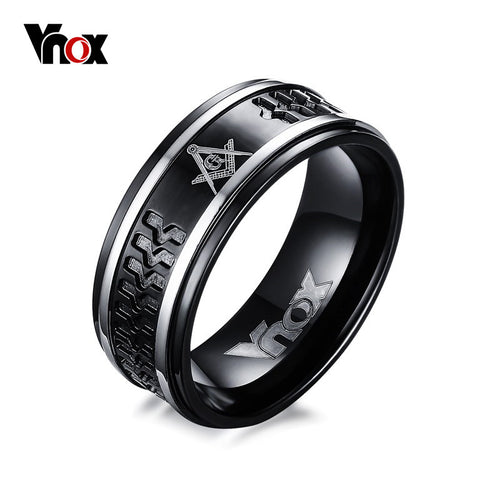 VNOX Punk Black Men's Masonic Rings 8mm Surgical Steel Male Ring Jewelry US Size 7 to 12