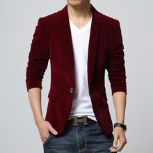 Mens slim fit blazer velvet male suit jacket 2016 spring and autumn red black blue notch lapel casual coat  Blaser drop shipping