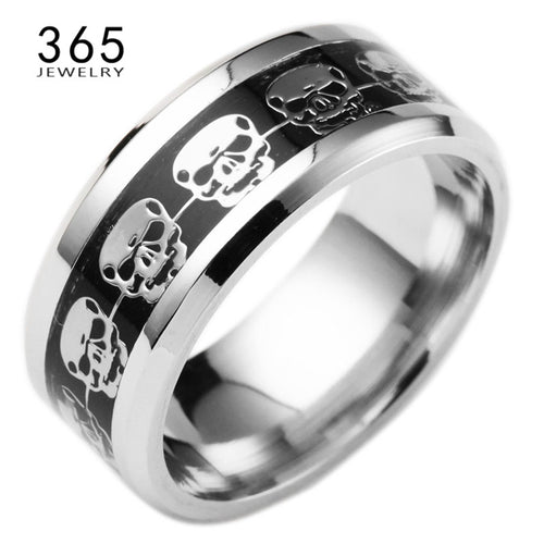 Fashion Mens Jewelry Never Fade Stainless Steel Skull Ring Gold Filled Blue Black Skeleton Pattern Man Biker Rings for Men Gift
