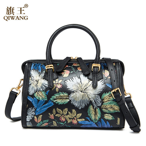 Flower Boston Women Handbag Brand QIWANG Luxurious Flower Bag Feminina Luxury Handbags Women Bags Designer High Quality