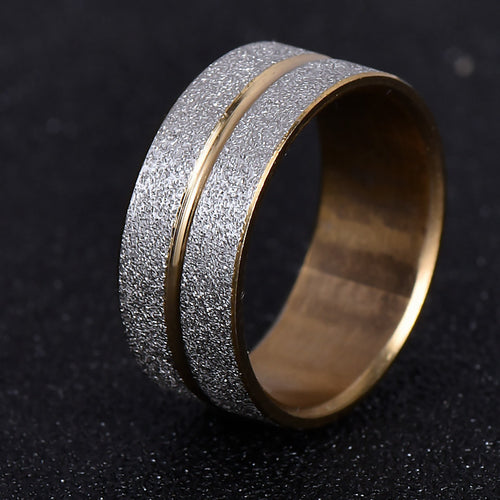 Brand Design Gold Silver Plated Scrub 316L Stainless Steel Ring / Rings For Women Men Wedding Gift Never Fade nj197