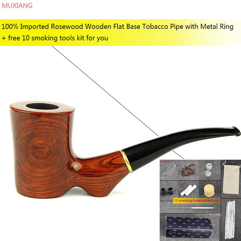 MUXIANG New Manual Rosewood Tobacco Pipe Flat Base Novelty 9mm Activate Carbon Filter Bent Smoking Pipe Masculine Gift ad0016