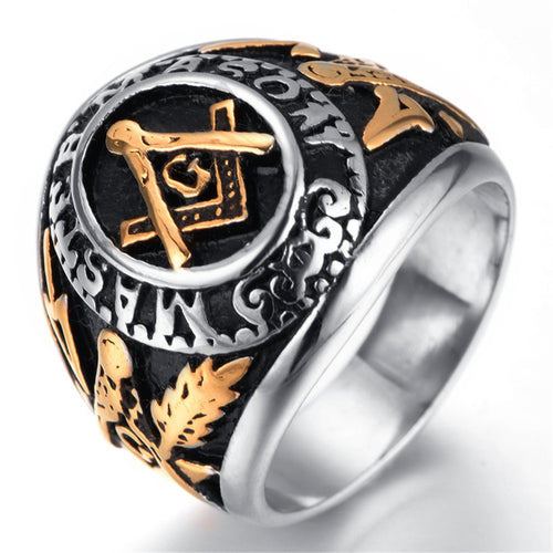Master Mason Freemason Men's Silver Gold Free Mason Stainless Steel Masonic Ring