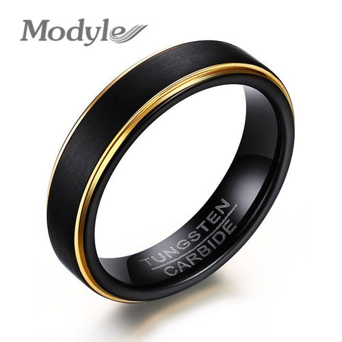 Modyle 2017 New Cool Black and Gold Plated Tungsten Ring for Men Jewelry 6MM Black Tungsten Carbide Ring