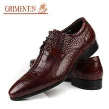 GRIMENTIN genuine leather shoes men casual black brown lace up unique Italian fashion wedding business office mens dress shoes