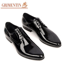 GRIMENTIN men wedding shoes genuine leather black lace up round toe Italian luxury designer business office mens dress shoes