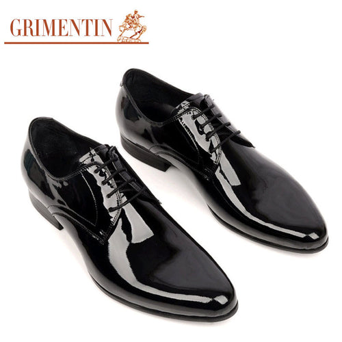 GRIMENTIN men wedding shoes genuine leather black lace up round toe Italian  luxury designer business office 27273f5ad83d