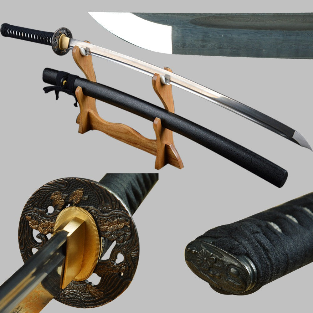 Shijian Swords Long Handmade Japanese Samurai Katana Sharp Full Tang Damascus Folded Steel Tameshigiri Practice Aikido Iaido