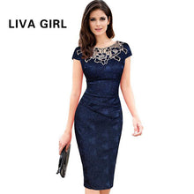 Liva Girl Womens embroidery Elegant Vintage Dobby fabric Hollow out embroidered Ruched Pencil Bodycon Evening Party Dress