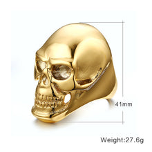 Meaeguet Skull Rock Rings Wholesale Fashion Big Gold/Black Plated Men Ring 316 Stainless Steel Rings For Men Jewelry