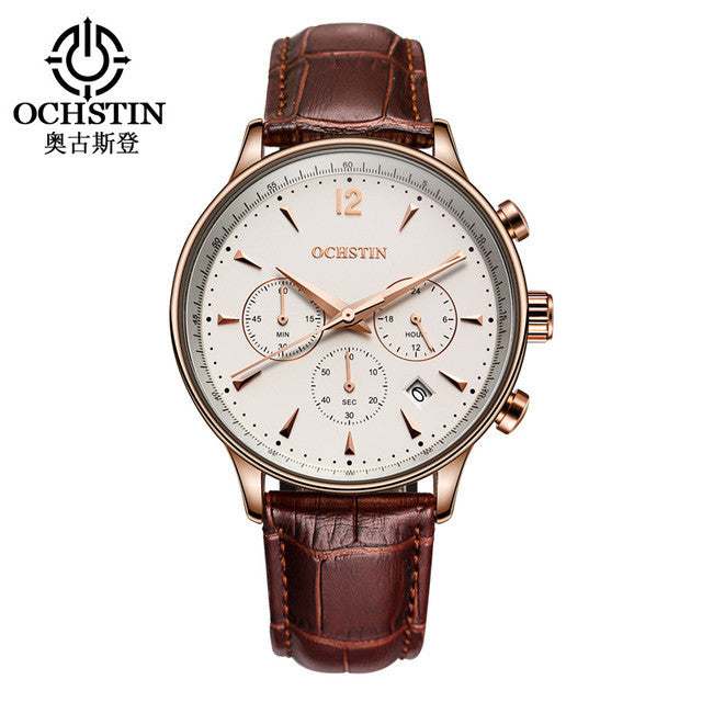 2016 Fashion OCHSTIN Men Watches Top Brand Luxury CHRONOGRAPH Function Date Leather Sport Watch Men Business Quartz Wrist Watch