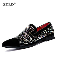 crystal handmade men loafers fashion Slip-On leather & suede slippers male shoes party and wedding dress boat shoes men's flats