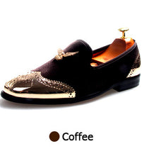 men loafers Metal Shoes Top and Back Men Shoes Fashion Men Velvet Loafers Shoes with Eagle Buckle Casual Dress Shoes Men Flats