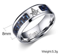 Meaeguet Cool Men Masonic Rings Stainless Steel Wedding Rings for Men Jewelry With Blue & Black Carbon Fiber Rings Jewelry