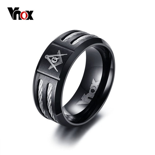 Vnox Black Masonic Rings for Men Jewelry Rock Punk Stainless Steel Wia Men's Party Rings