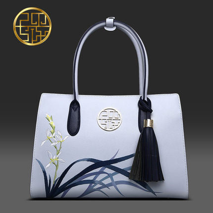 Pmsix 2017 New Designer Women Handbags Split Leather Embroidery Tassel Purses And Handbags Light Blue Ladies Tote Bag P120053