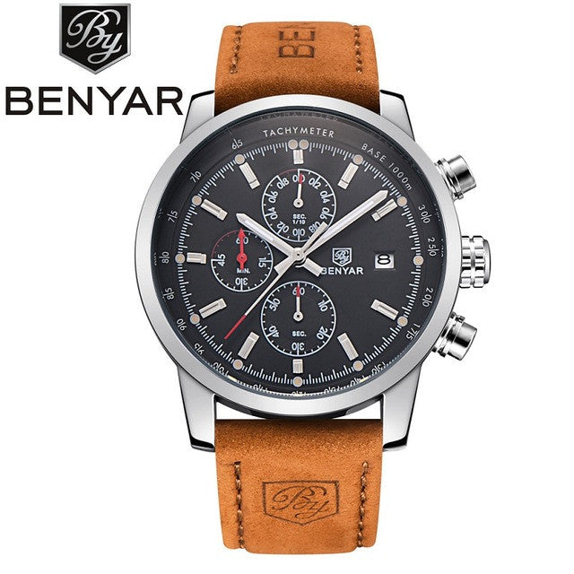BENYAR Brand Sport Men Watch Top Brand Luxury Male Leather Waterproof Chronograph Quartz Military Wrist Watch Men Clock saat