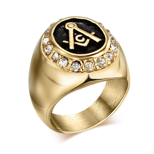Vintage Mens Stainless Steel Free Mason Ring - Freemasonry College Style GOLD Masonic Rings