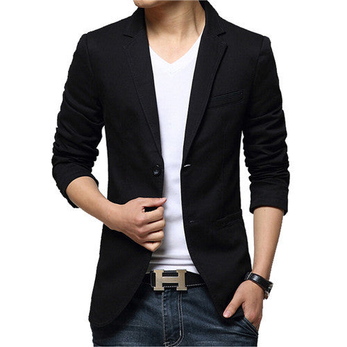 Mens blazer slim fit suit jacket black / brown / khaki spring autumn outwear coat suits for male