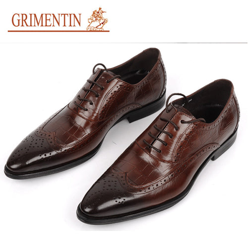 GRIMENTIN Brand luxury mens dress shoes genuine leather pointed toe crocodile vintage luxury wedding shoes men flats for office