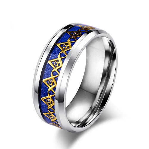Golden Letter Tungsten Jewelry Free Mason Rings For Man Freemason Masonic Ring Wholesale Cool Men Freemasonry Rings