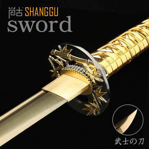 Silver Scabbard Golden Bamboo Decoration Japan Samurai Sword Middle East real Golden Sword Blade Ninja Props  Home Decorations