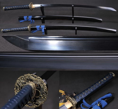 Folded Steel Katana Full Tang Black Blade Sword Sharp Leather ITO Dragon Tsuba