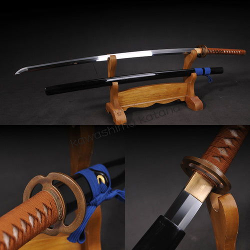 Full Handmade Vintage T10 Musashi Samurai Sword Katana Sharp Edge Brown Handle