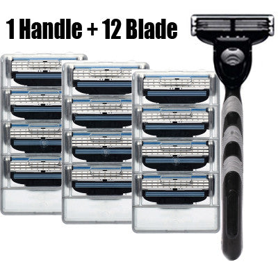 12pcs Razor Blades+1pcs Razor Holder turbo Face Care Manual Shaving Razor Blade Mache 3 Safe Blades Shaving Machine For Men