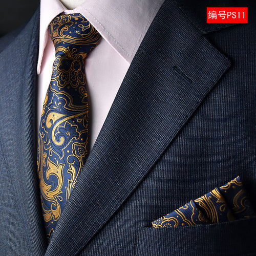 paisley mens fashion ties for men neckties business dress polyester silk tie jacquard casual necktie tie handkerchief set
