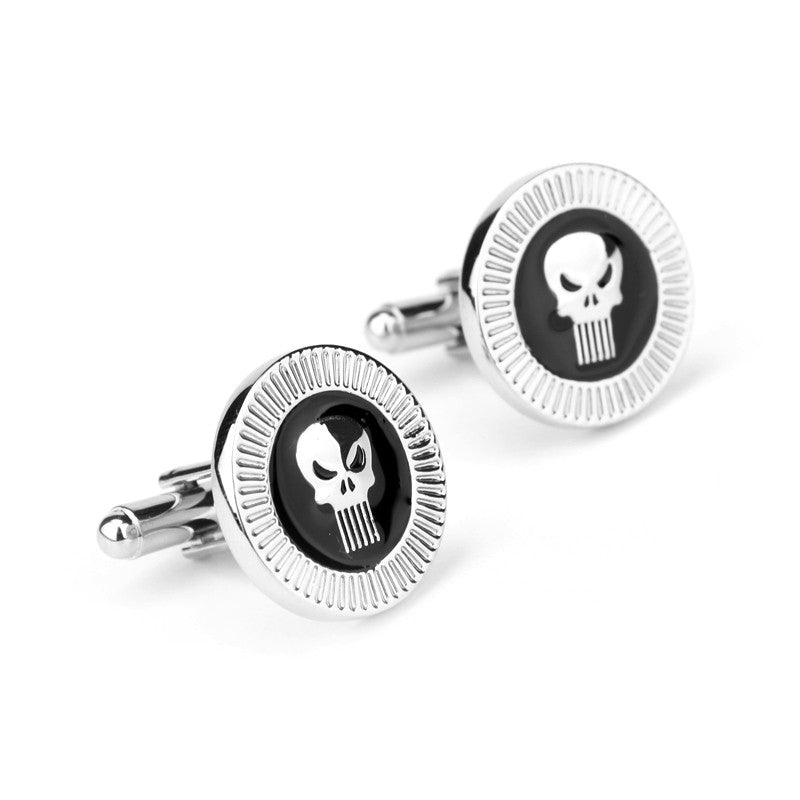 Superhero Punisher Brand Top quality Men's Luxurious Cufflinks Wedding &Business French Fashion Cuff links Men Cufflinks