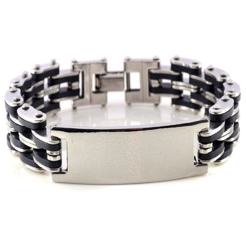 New Silver Link Chain Rubber Stainless steel Men's Bracelet Wrist band 8.5