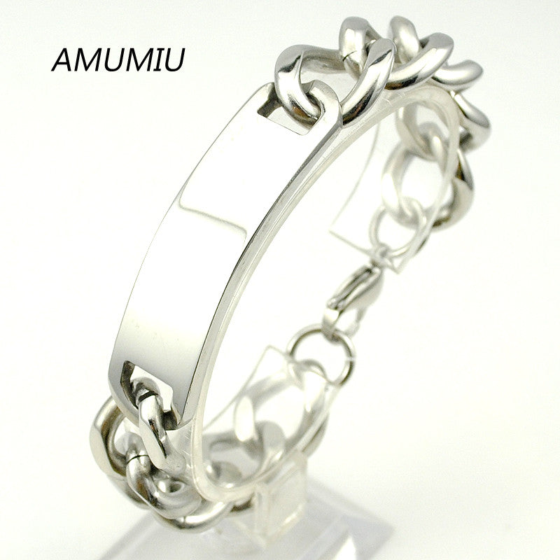 AMUMIU 15mm 21.5cm Cool,in silver tone trendy blank id bracelets pulseras hombre men jewlery new stainless steel chain HZB088